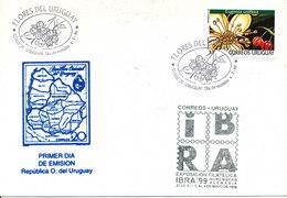 Uruguay FDC 4--2-1999 Flores Del Uruguay With Cachet Stamp Exhibition IBRA 99 - Uruguay