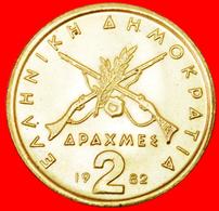 √ GUNS: GREECE ★ 2 DRACHMAS 1982 UNC MINT LUSTER!  LOW START ★ NO RESERVE! - Grèce