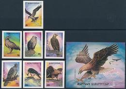 Mi 74-80 B + Block 11 B ** MNH Raptors Birds Of Prey Osprey Eagle Vulture Falcon - Kyrgyzstan