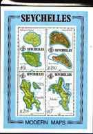 71683) SEYCHELLES  Maps, 1982 Modern, Islands MNH Sheet -MNH** BF.19 - Seychelles (1976-...)