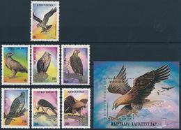 Mi 74-80 A + Block 11 A ** MNH Raptors Birds Of Prey Osprey Eagle Vulture Falcon - Kyrgyzstan