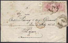 Lettre 16.3.1874, Timbre Armoire Paire 12 1/2c Rose, Michel: 18a, De Luxembourg Vers Lyon (3scans) - 1859-1880 Armoiries