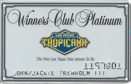Tropicana Casino Las Vegas, NV - Slot Card With Innovative Over Mag Stripe & Blacked Out Text - Casino Cards