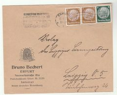 1935 BEEKEEPING Illus ADVERT COVER Pic On Both Sides BEE Insect  Beehive Bees Erfurt GERMANY Stamps - Api