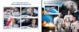 Maldives 2018, Space, Apollo 8, 4val In BF+BF - Space