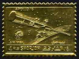 67280 Sharjah 1972 Apollo 16 Perf 4r Embossed In Gold Foil Unmounted Mint, As Mi 1058A (space) - Schardscha