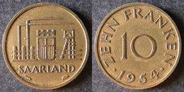 SARRE  10 Franken Ou Franc Sarrois 1954   SARRELAND Protectorat / Zone D'occupation Française En Allemagne   Port Offert - Monnaies