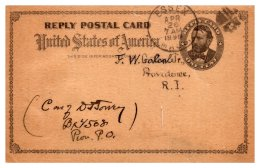 Massachusetts Essex Cancel 1899 , Edgewood Congregational Society , Reply Card - 1847-99 General Issues