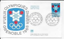 38.- GRENOBLE .- Xes JEUX OLYMPIQUES D' HIVER  - Premier Jour D' Emission  F.D.C.. - FDC