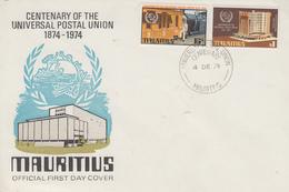 Enveloppe  FDC  1er  Jour   MAURITIUS    Centenaire  De  L' Union  Postale   1974 - Mauritius (1968-...)