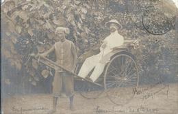 ASIE - VIETNAM -ANNAM - TOURANNE - Carte Photo 1904 - Promenade En Pousse-pousse - Gros Plan - Viêt-Nam