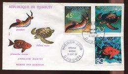 Djibouti  1er Jour - 1 Env.  Animaux Marins - Djibouti (1977-...)