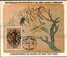 71701) S. TOME E PRINCIPE 1978-1° NN. MORTE MAO TSE TUNG BF.3- USATO - Sao Tome And Principe