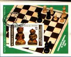 71702) S. TOME E PRINCIPE 19781-PEZZI ANTICHI DI SCACCHI-BF.26A NON DENTELLATO - USATO - Sao Tome And Principe