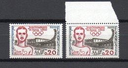 - FRANCE - Variété N° 1265b - 20 C. Jeux Olympiques De Rome 1960 - LEGENDES NOIRES - Cote 130 EUR - - Variétés Et Curiosités