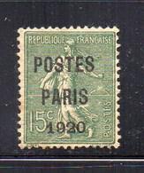 - FRANCE - Yvert & Tellier Préo N° 25 Neuf Sans Gomme - 15 C. Vert-olive POSTES PARIS 1920 - Cote 125 EUR - - Preobliterados