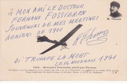 SIGNATURE ET AUTOGRAPHE DE  RAOUL THOMAS SUR CP MONOPLAN ANTOINETTE -  - Docteur Fossier - Airmen, Fliers