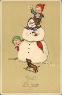 Glückwunsch - Neujahr/Sylvester Kinder Schneemann Künstlerkarte 1909 - Nieuwjaar