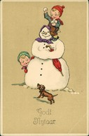Glückwunsch - Neujahr/Sylvester Kinder Schneemann Künstlerkarte 1909 - Nouvel An