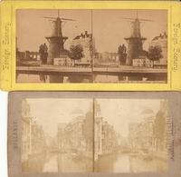 Lot De 2 Photographies Stéréo Ca 1875, Hollande / Nederland, Rotterdam By Radiguet & Fils + Foreign Scenery, Windmill - Photos Stéréoscopiques