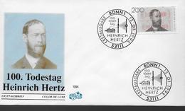 ALLEMAGNE    FDC    1994   Hertz Heinrich Physicien - Physique