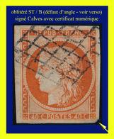 N° 5 CÉRÈS IIe RÉPUBLIQUE 1850 - ORANGE - OBLITÉRÉ B - SIGNÉ CALVES - CERTIFICAT D'AUTHENTICITÉ - 1849-1850 Cérès