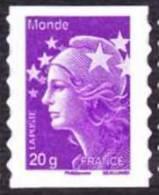 France Autoadhésif N°  593 ** Au Modèle 4568 - Marianne De Beaujard, 20 Grammes Monde Du 1.07.2011. Verso Fond Blanc - France