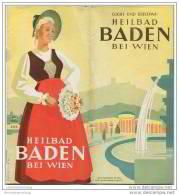 Heilbad Baden Bei Wien 1939 - 8 Seiten Mit 14 Abbildungen - Hotel- Und Gaststättenverzeichnis - Oesterreich