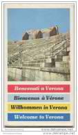 Willkommen In Verona - Benvenuti A Verona - Faltblatt Mit 9 Abbildungen - Stadtplan Und Übersichtsplan Der Region 1958( - Italia
