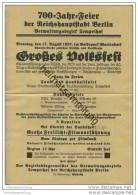 Flugblatt - Einladung Zur 700 Jahr Feier Der Reichshauptstadt Berlin - Verwaltungsbezirk Tempelhof - 17. August 1937 - Berlin