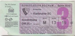 Germany VFL Bochum - Karlsruher SC -  1992 Bundesliga Match Ticket - Tickets D'entrée