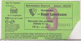 Germany VFL Bochum - Bayer Leverkusen -  1992 Bundesliga Match Ticket - Tickets D'entrée
