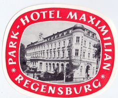 Pub Reclame Etiket Etiquette - Hotel Maximilian - Regensburg - Publicidad
