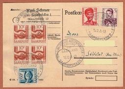 Timbres N° 231 Bloc De 4 - 232 - 234 -237  T.D. Der Franz. Aussenminister Besucht Das Saarland 15.12.48 Saarbrücken 2 - 1947-56 Occupation Alliée