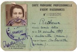 AUBREVILLE (55) CARTE PROVISOIRE PROFESSIONNELLE D'AGENT D'ASSURANCES. LA SEQUANAISE. - Historische Documenten