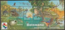 BOTSWANA - 2000 Wetlands Souvenir Sheet Overprinted Hong Kong. Birds, Owls, Fish, Etc. Scott 709a. MNH - Botswana (1966-...)