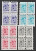 COSTA RICA - 1982 Postal Tax Blocks Of Four. Scott RA93-96. MNH - Costa Rica