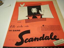 ANCIENNE PUBLICITE GAINE SCANDALE ELLE SECHE VITE 1955 - Vintage Clothes & Linen