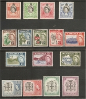 JAMAICA 1956 - 1958 SET SG 159/174 VERY LIGHTLY MOUNTED MINT Cat £95 - Jamaica (...-1961)