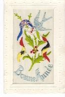 Cp Militaria Guerre 1914.18 BELGIQUE RUSSIE ANGLETERRE F Brodée Drapeau Armée Francaise Belge Anglaise Russe BONNE ANNEE - Patriotic