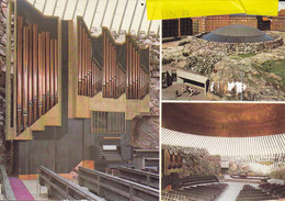 Finland PPC Temppeliaukio Church Kirche Eglise Organ Orgue Orgel HELSINGFORS 1988? Denmark REadressed KØGE (2 Scans) - Finland