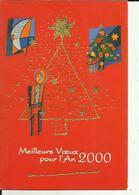 Carte  Glacée Depliante  Avec  Points Brillants Dorés  De  Meilleurs Voeux _2000_ Neuve - New Year