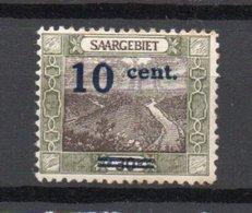 - SARRE N° 71d Neuf * - 10 C. S. 30 P. Olive Et Brun Grande Boucle 1921 - ERREUR DE COULEUR - Cote 220 EUR - - Ungebraucht