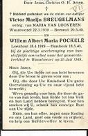 DEV29/ 2gesneuvelden WO II° WUUSTWEZEL 1910 VICTOR BREUGELMANS EN WILLEM POCKELE ° LOENHOUT 1919 - Religion & Esotérisme