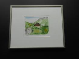 "Original Aquarell Schweiz ""Stille In Radons"" GR - 370,00 € (BAR/100% WIR) - Watercolours"