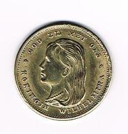 -&  PENNING KONINGIN WILHELMINA  10 GULDEN  1897 ( COPIE ) - Elongated Coins