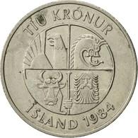 Monnaie, Iceland, 10 Kronur, 1984, TTB+, Copper-nickel, KM:29.1 - Islande