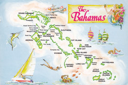 Bahamas PPC Map Landkarte Slogan Flamme FREEPORT 1987 KØGE Denmark Fish Fisch Stamp (2 Scans) - Bahamas