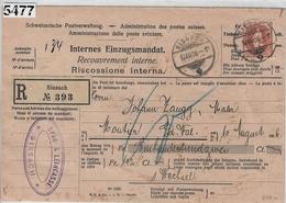 1906 Helvetia 88A/76C Charge-Einzugsmandat Sissach To Moutier 10VIII.06 - 1882-1906 Wappen, Stehende Helvetia & UPU
