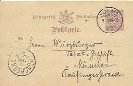 Entier Postal De 5 Pf Sur Carte Postale De Ulm Gare Pour München - Wurtemberg